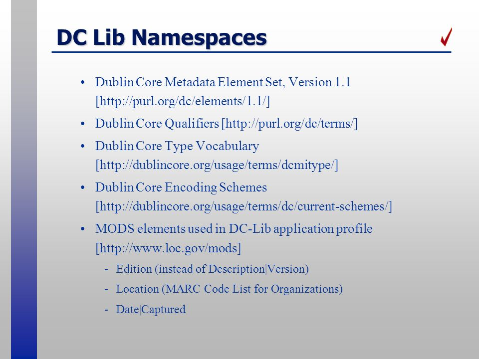 DC Lib Namespaces Dublin Core Metadata Element Set, Version 1.1 [http://purl.org/dc/elements/1.1/]